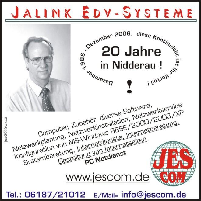 Am 16. Dezember 2006 feiert Jalinek EDV-Systeme sein 20. Jähriges bestehen!